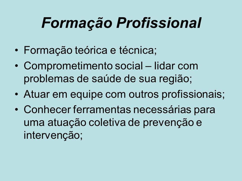 Formação Profissional Formação teórica e técnica; Comprometimento social – lidar com problemas de saúde de sua região; Atuar em equipe com outros prof