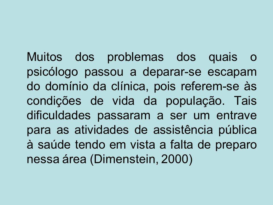 Muitos dos problemas dos quais o psicólogo passou a deparar-se escapam do domínio da clínica, pois referem-se às condições de vida da população. Tais