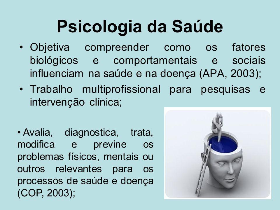 Psicologia da Saúde Objetiva compreender como os fatores biológicos e comportamentais e sociais influenciam na saúde e na doença (APA, 2003); Trabalho