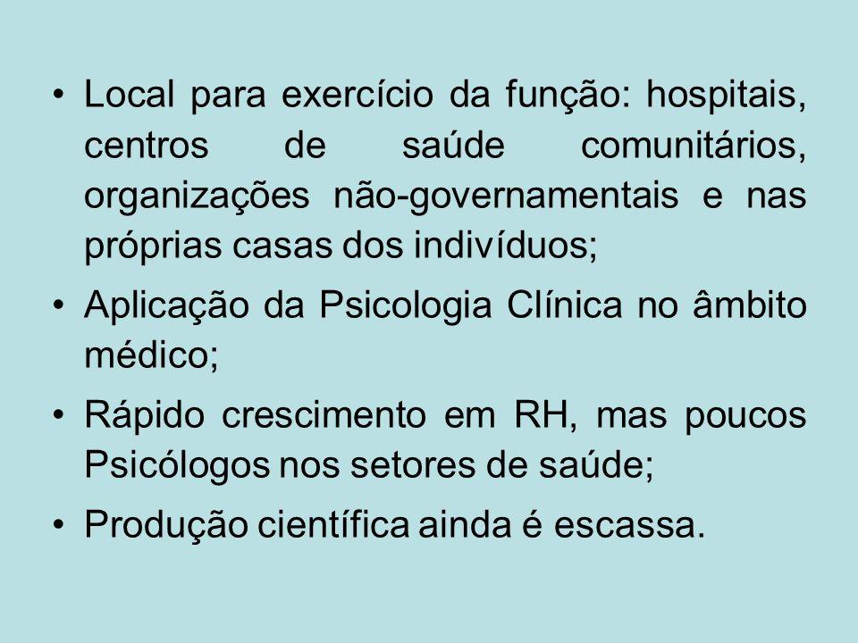 Local para exercício da função: hospitais, centros de saúde comunitários, organizações não-governamentais e nas próprias casas dos indivíduos; Aplicaç