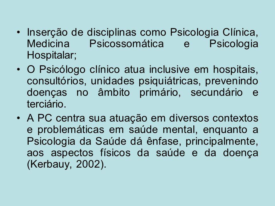 Inserção de disciplinas como Psicologia Clínica, Medicina Psicossomática e Psicologia Hospitalar; O Psicólogo clínico atua inclusive em hospitais, con