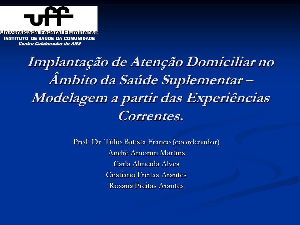 Implantação de Atenção Domiciliar no Âmbito da Saúde Suplementar – Modelagem a partir das Experiências Correntes. Prof. Dr. Túlio Batista Franco (coor