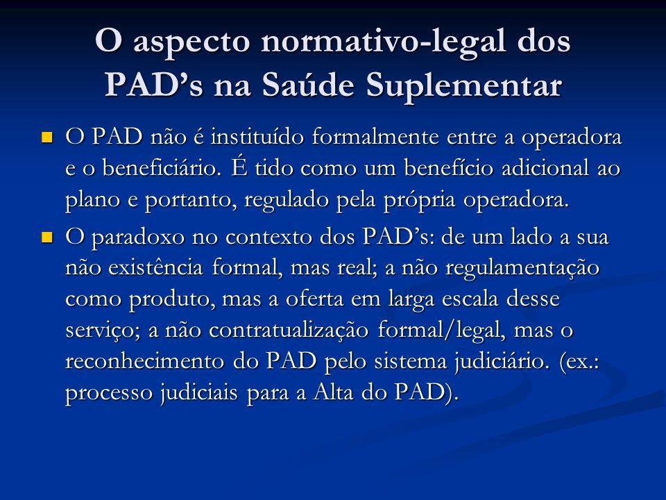 O aspecto normativo-legal dos PADs na Saúde Suplementar O PAD não é instituído formalmente entre a operadora e o beneficiário. É tido como um benefíci
