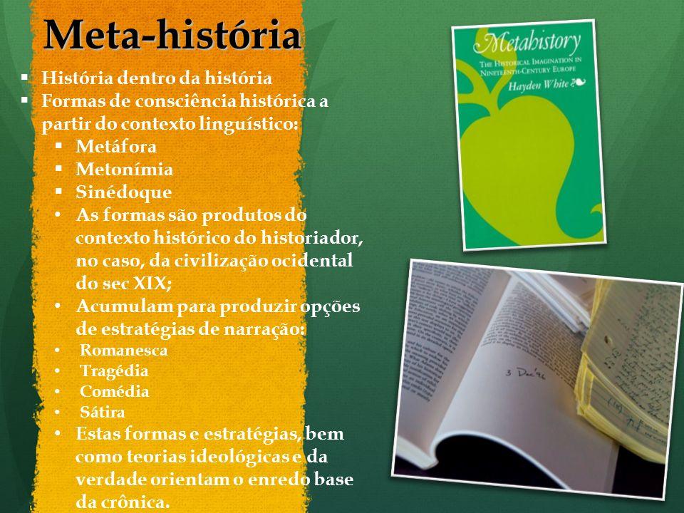 Meta-história História dentro da história Formas de consciência histórica a partir do contexto linguístico: Metáfora Metonímia Sinédoque As formas são