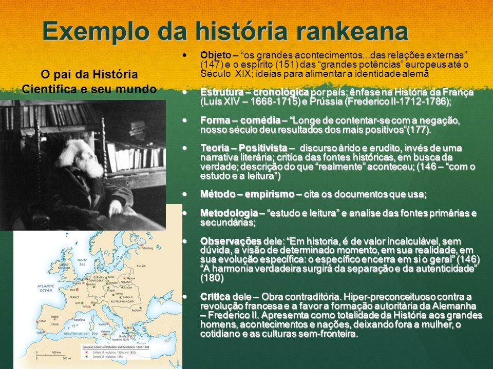 Exemplo da história rankeana Objeto – os grandes acontecimentos...das relações externas (147) e o espírito (151) das grandes potências europeus até o