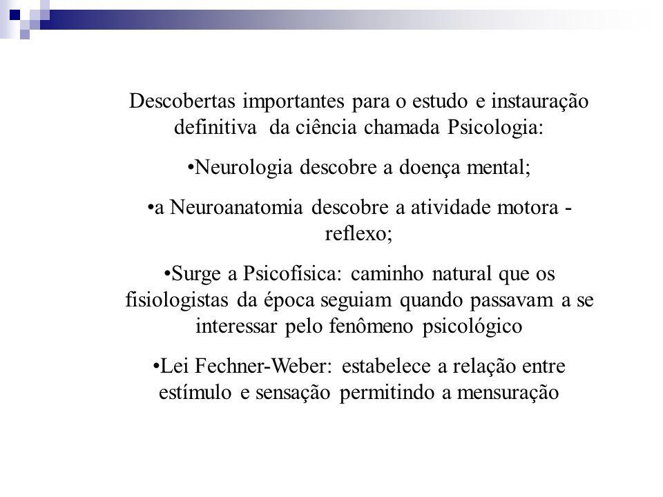 Descobertas importantes para o estudo e instauração definitiva da ciência chamada Psicologia: Neurologia descobre a doença mental; a Neuroanatomia des