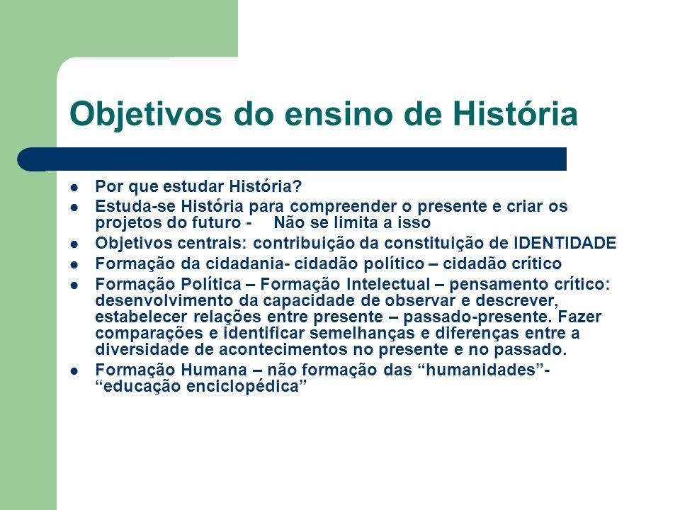 Objetivos do ensino de História Por que estudar História? Estuda-se História para compreender o presente e criar os projetos do futuro - Não se limita