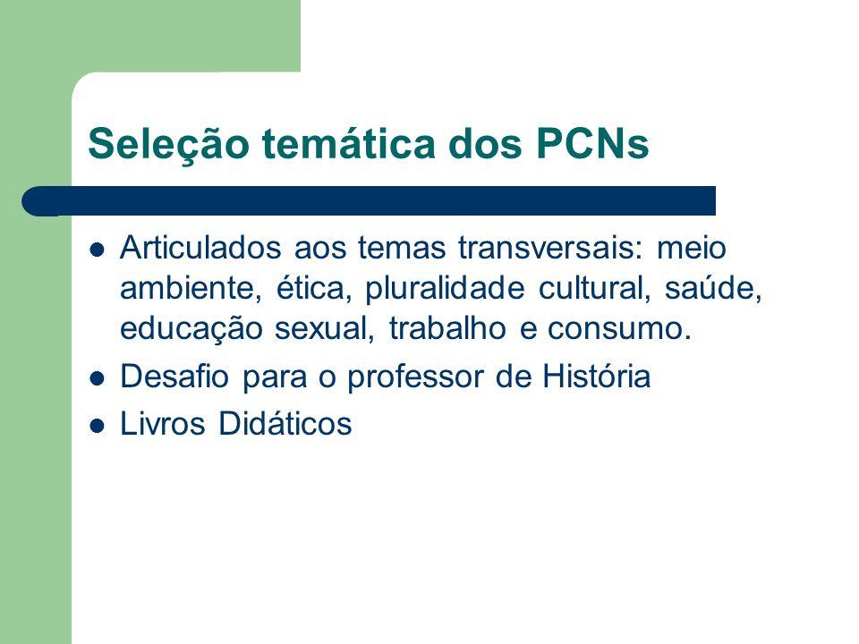 Seleção temática dos PCNs Articulados aos temas transversais: meio ambiente, ética, pluralidade cultural, saúde, educação sexual, trabalho e consumo.