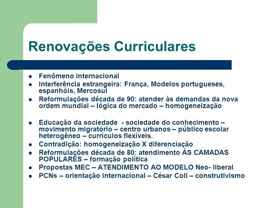 Renovações Curriculares Fenômeno internacional Interferência estrangeira: França, Modelos portugueses, espanhóis, Mercosul Reformulações década de 90: