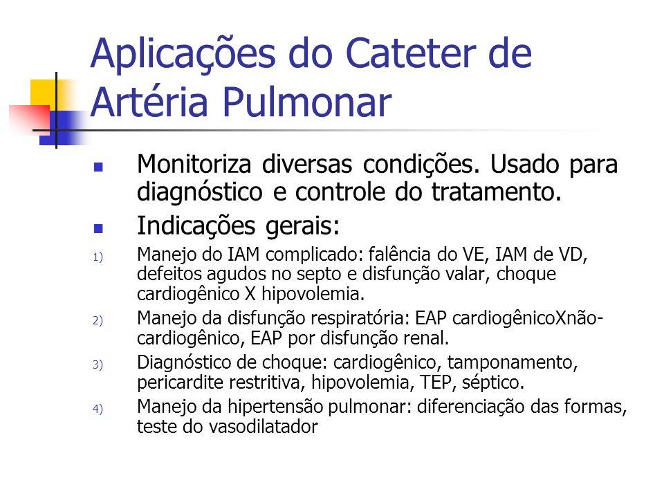Aplicações do Cateter de Artéria Pulmonar Monitoriza diversas condições. Usado para diagnóstico e controle do tratamento. Indicações gerais: 1) Manejo