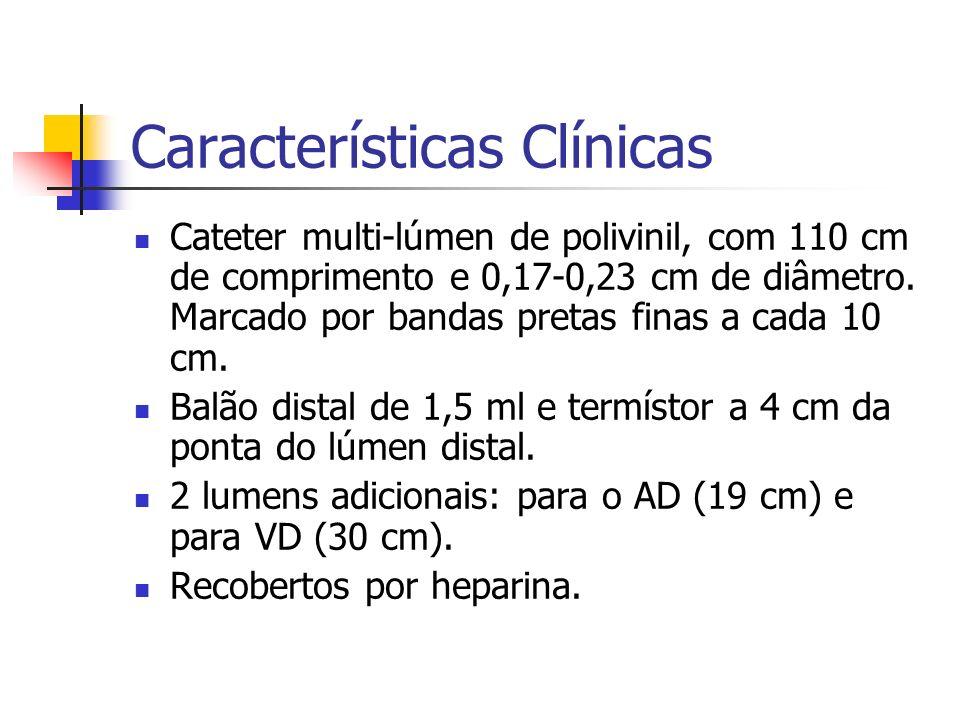 Características Clínicas Cateter multi-lúmen de polivinil, com 110 cm de comprimento e 0,17-0,23 cm de diâmetro. Marcado por bandas pretas finas a cad