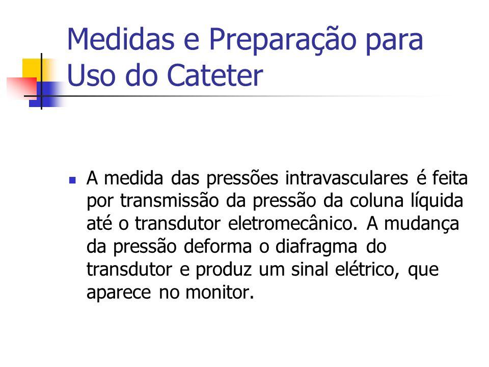Medidas e Preparação para Uso do Cateter A medida das pressões intravasculares é feita por transmissão da pressão da coluna líquida até o transdutor e