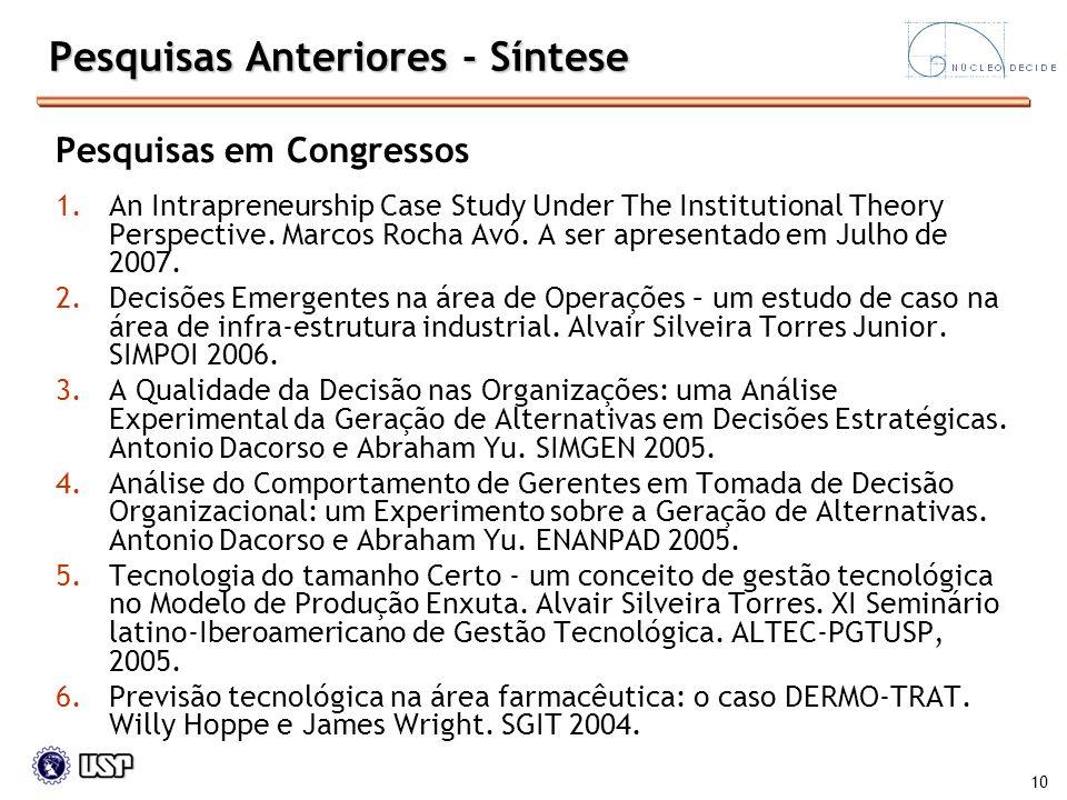 10 Pesquisas Anteriores - Síntese Pesquisas em Congressos 1.An Intrapreneurship Case Study Under The Institutional Theory Perspective. Marcos Rocha Av