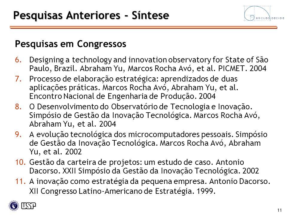 11 Pesquisas Anteriores - Síntese Pesquisas em Congressos 6.Designing a technology and innovation observatory for State of São Paulo, Brazil. Abraham