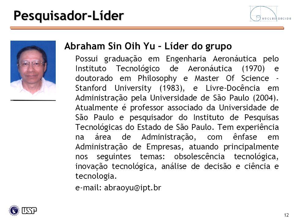 12 Pesquisador-Líder Abraham Sin Oih Yu – Líder do grupo Possui graduação em Engenharia Aeronáutica pelo Instituto Tecnológico de Aeronáutica (1970) e