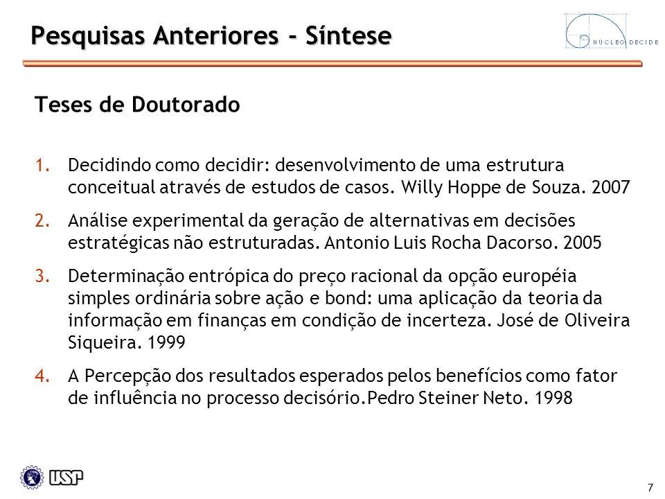 7 Teses de Doutorado 1.Decidindo como decidir: desenvolvimento de uma estrutura conceitual através de estudos de casos. Willy Hoppe de Souza. 2007 2.A