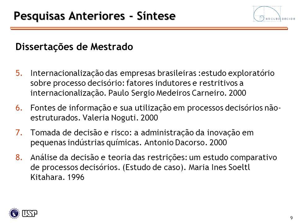 9 Pesquisas Anteriores - Síntese Dissertações de Mestrado 5.Internacionalização das empresas brasileiras :estudo exploratório sobre processo decisório