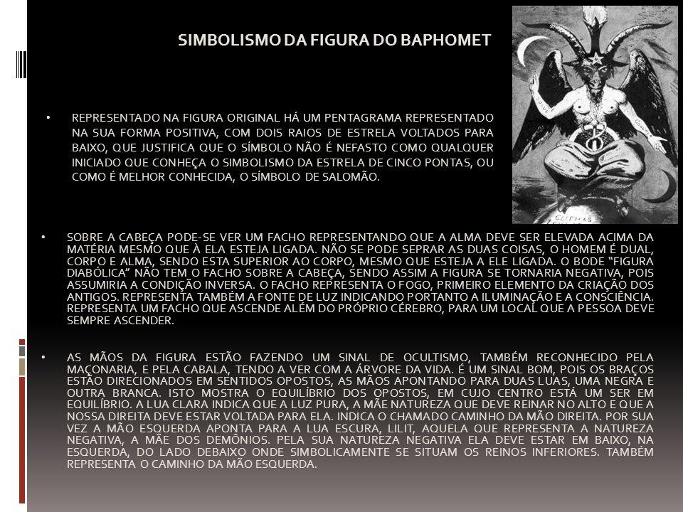 SIMBOLISMO DA FIGURA DO BAPHOMET REPRESENTADO NA FIGURA ORIGINAL HÁ UM PENTAGRAMA REPRESENTADO NA SUA FORMA POSITIVA, COM DOIS RAIOS DE ESTRELA VOLTAD