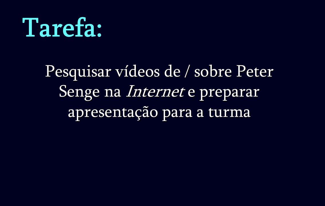 Tarefa: Pesquisar vídeos de / sobre Peter Senge na Internet e preparar apresentação para a turma