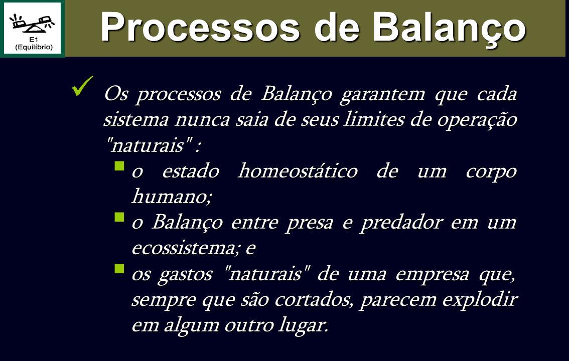 Os processos de Balanço garantem que cada sistema nunca saia de seus limites de operação