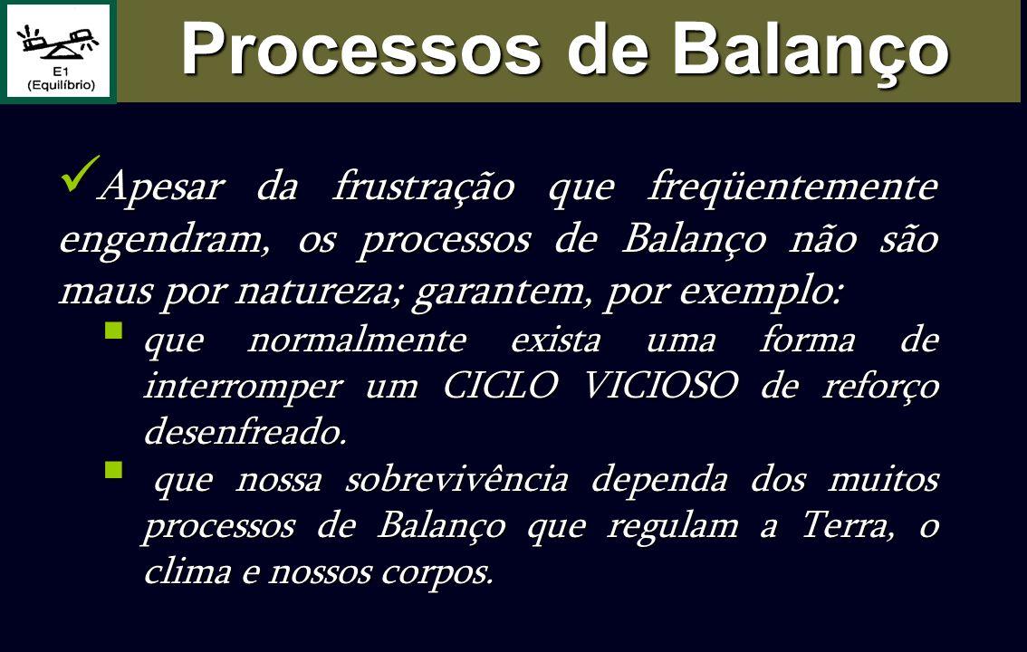 Apesar da frustração que freqüentemente engendram, os processos de Balanço não são maus por natureza; garantem, por exemplo: Apesar da frustração que