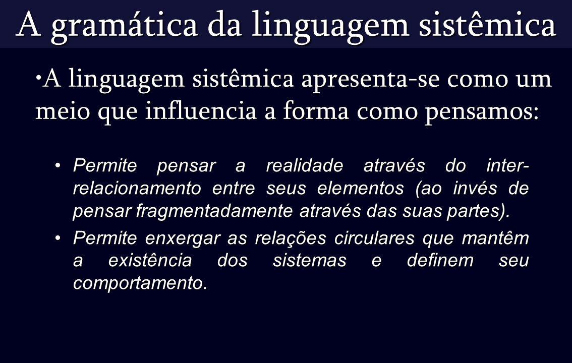 A gramática da linguagem sistêmica Permite pensar a realidade através do inter- relacionamento entre seus elementos (ao invés de pensar fragmentadamen