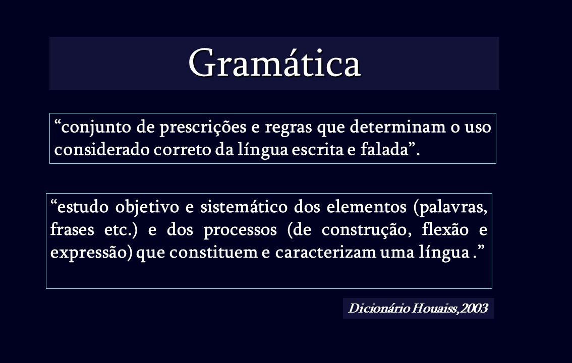 Gramática conjunto de prescrições e regras que determinam o uso considerado correto da língua escrita e falada. estudo objetivo e sistemático dos elem