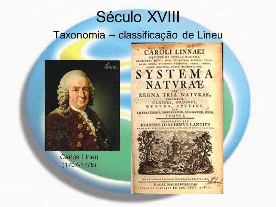 Século XVIII Taxonomia – classificação de Lineu Carlos Lineu (1707-1778)