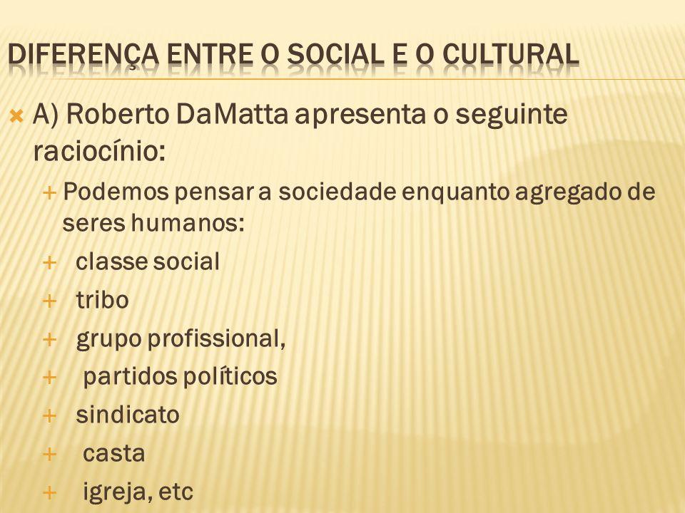 A) Roberto DaMatta apresenta o seguinte raciocínio: Podemos pensar a sociedade enquanto agregado de seres humanos: classe social tribo grupo profissio