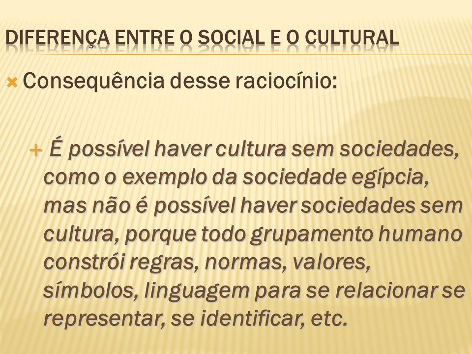 Consequência desse raciocínio: É possível haver cultura sem sociedades, como o exemplo da sociedade egípcia, mas não é possível haver sociedades sem c