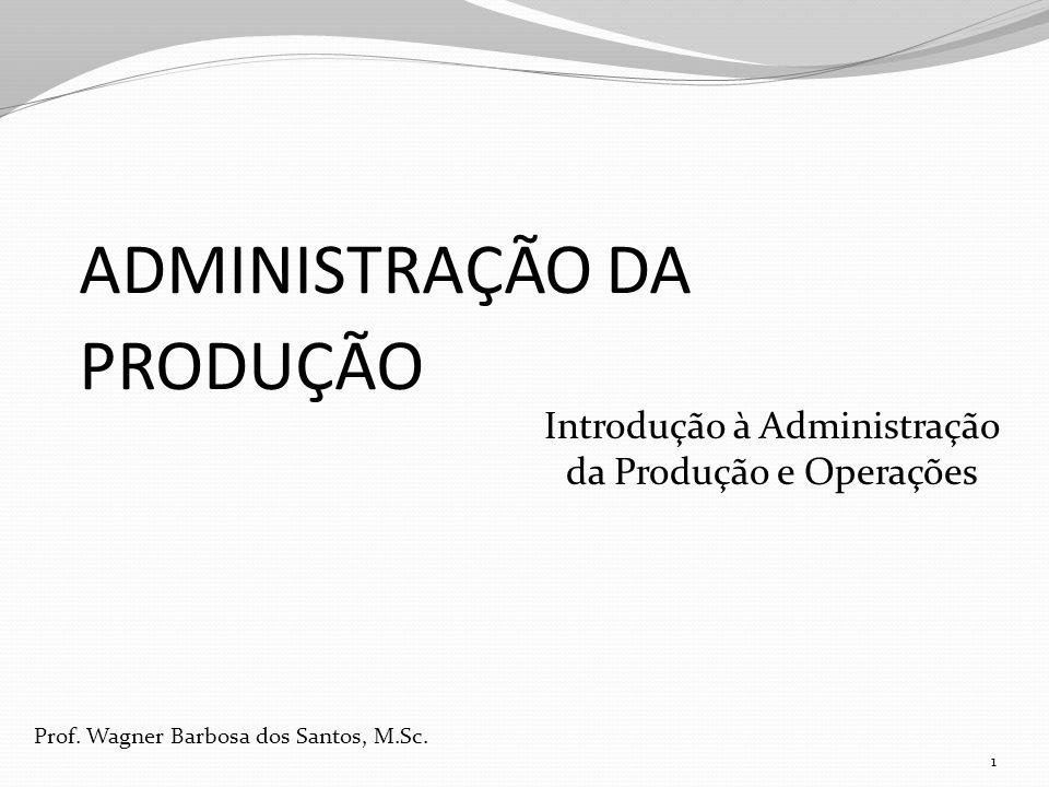 ADMINISTRAÇÃO DA PRODUÇÃO Introdução à Administração da Produção e Operações 1 Prof. Wagner Barbosa dos Santos, M.Sc.