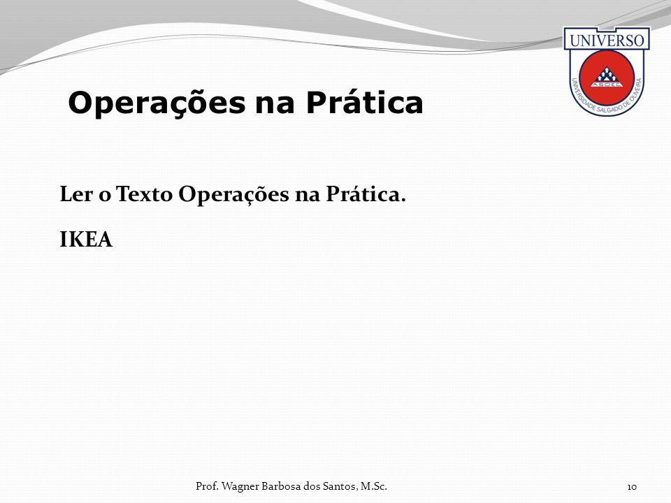 Ler o Texto Operações na Prática. IKEA 10 Operações na Prática Prof. Wagner Barbosa dos Santos, M.Sc.