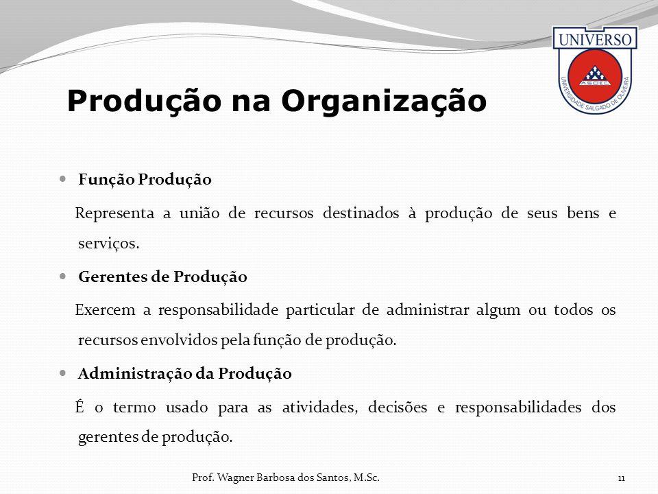 Função Produção Representa a união de recursos destinados à produção de seus bens e serviços. Gerentes de Produção Exercem a responsabilidade particul
