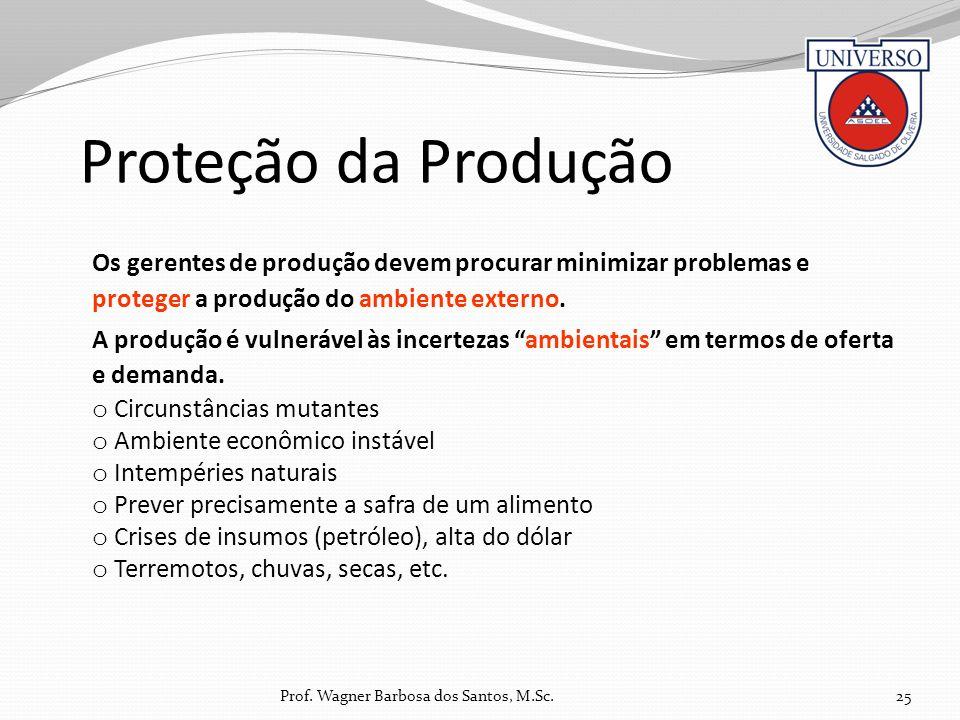 Proteção da Produção 25 Os gerentes de produção devem procurar minimizar problemas e proteger a produção do ambiente externo. A produção é vulnerável