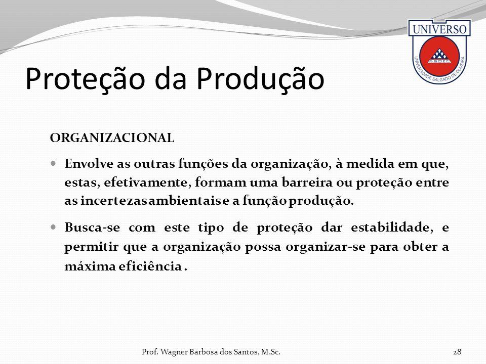 Proteção da Produção ORGANIZACIONAL Envolve as outras funções da organização, à medida em que, estas, efetivamente, formam uma barreira ou proteção en