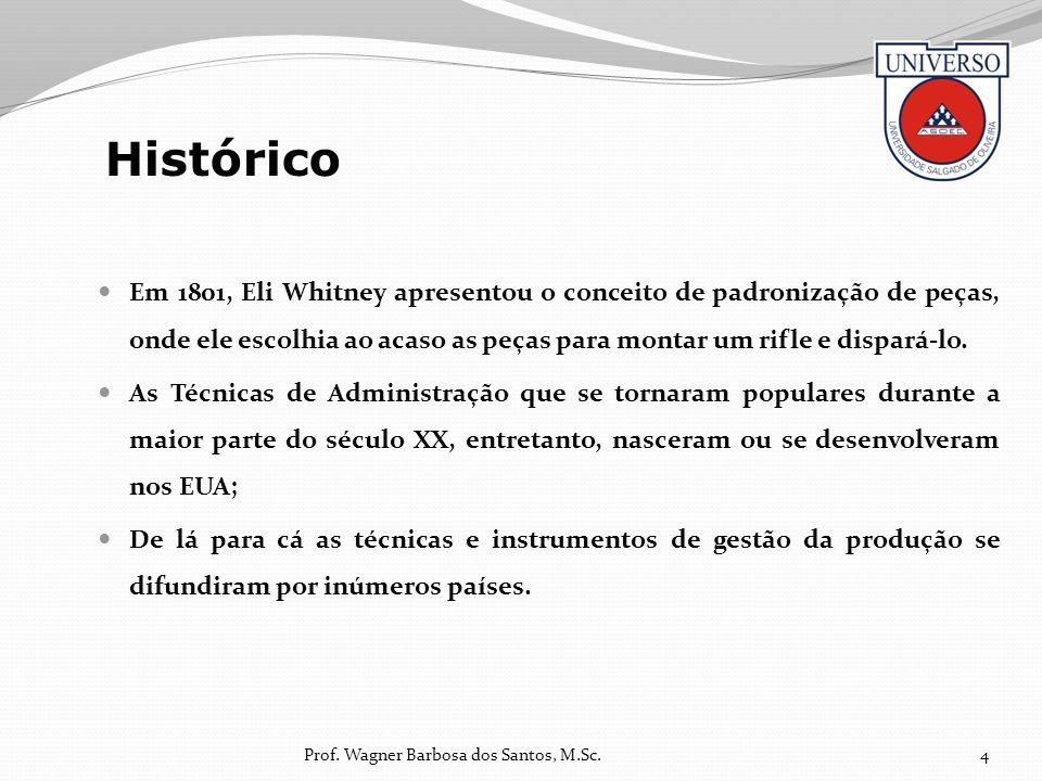 Em 1801, Eli Whitney apresentou o conceito de padronização de peças, onde ele escolhia ao acaso as peças para montar um rifle e dispará-lo. As Técnica