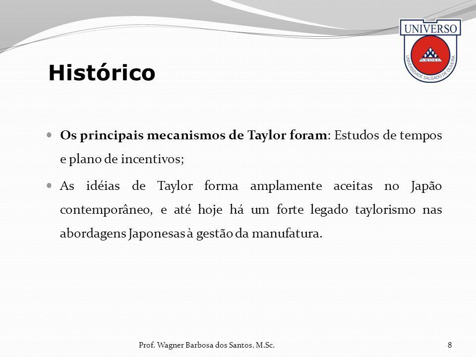 Os principais mecanismos de Taylor foram: Estudos de tempos e plano de incentivos; As idéias de Taylor forma amplamente aceitas no Japão contemporâneo