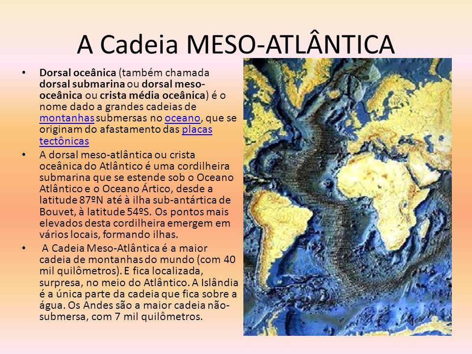 A Cadeia MESO-ATLÂNTICA Dorsal oceânica (também chamada dorsal submarina ou dorsal meso- oceânica ou crista média oceânica) é o nome dado a grandes ca