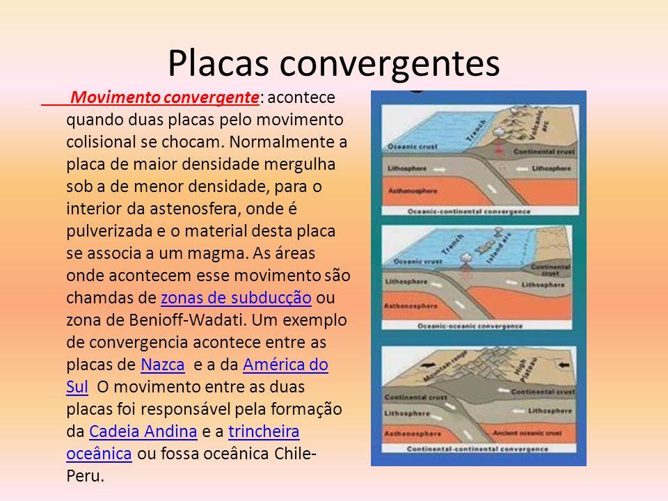 Placas convergentes Movimento convergente: acontece quando duas placas pelo movimento colisional se chocam. Normalmente a placa de maior densidade mer