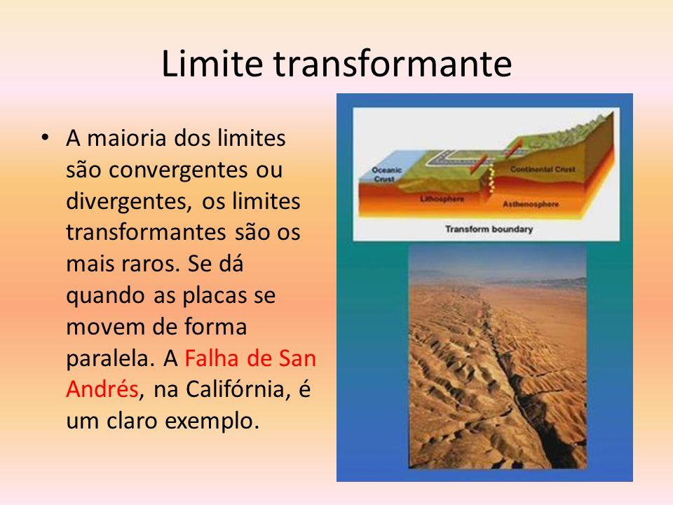 Limite transformante A maioria dos limites são convergentes ou divergentes, os limites transformantes são os mais raros. Se dá quando as placas se mov