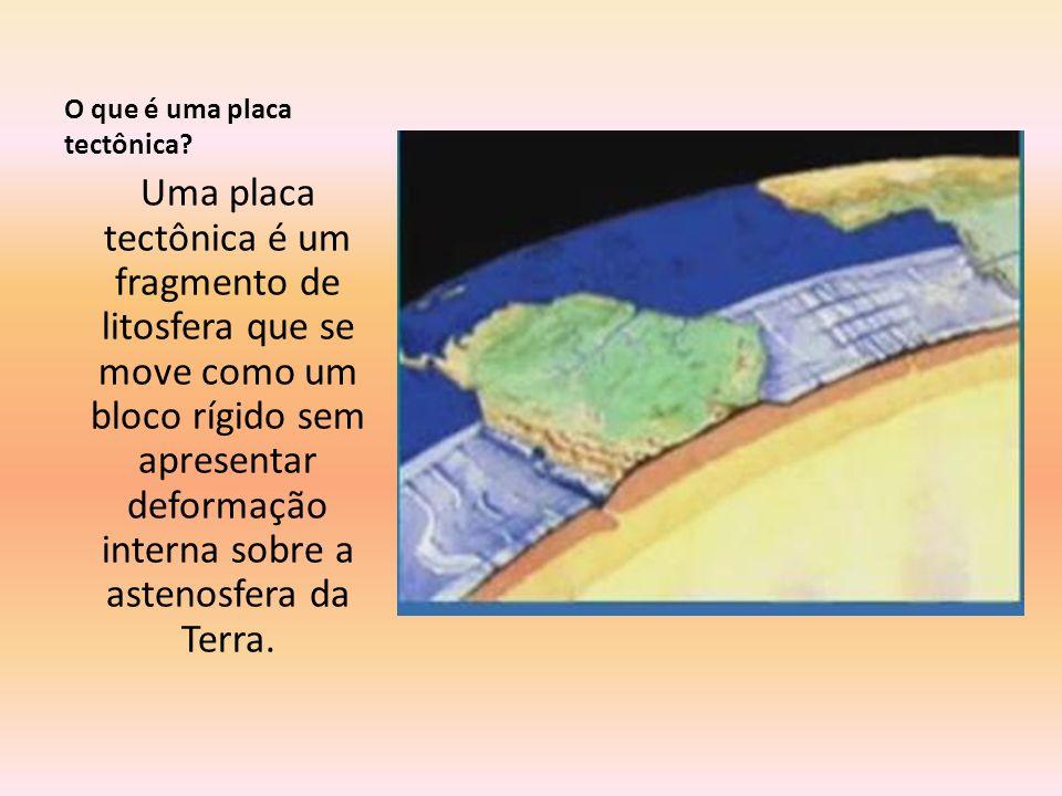 O que é uma placa tectônica? Uma placa tectônica é um fragmento de litosfera que se move como um bloco rígido sem apresentar deformação interna sobre