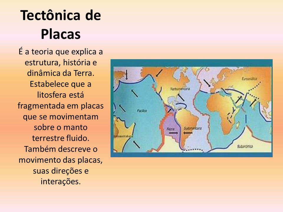 Tectônica de Placas É a teoria que explica a estrutura, história e dinâmica da Terra. Estabelece que a litosfera está fragmentada em placas que se mov