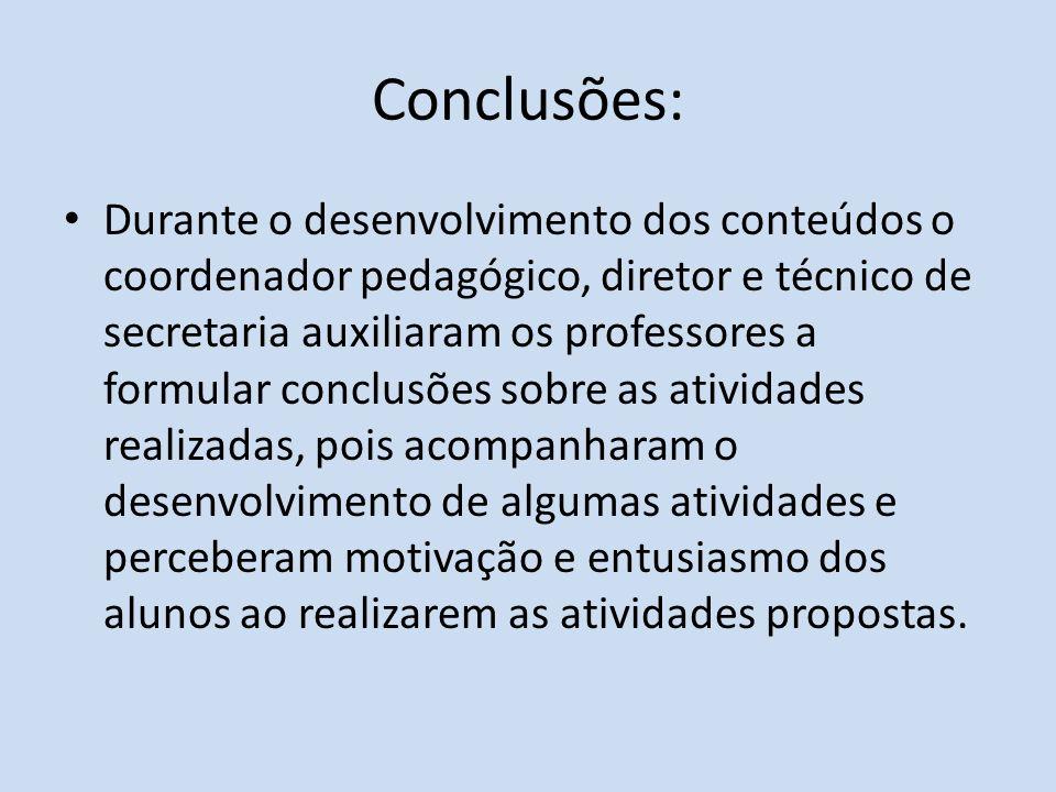 Conclusões: Durante o desenvolvimento dos conteúdos o coordenador pedagógico, diretor e técnico de secretaria auxiliaram os professores a formular con