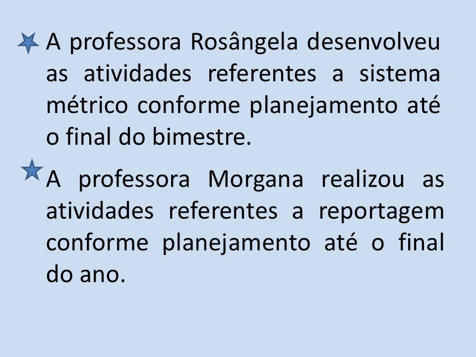 A professora Morgana realizou as atividades referentes a reportagem conforme planejamento até o final do ano. A professora Rosângela desenvolveu as at