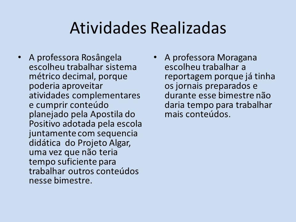 Atividades Realizadas A professora Rosângela escolheu trabalhar sistema métrico decimal, porque poderia aproveitar atividades complementares e cumprir