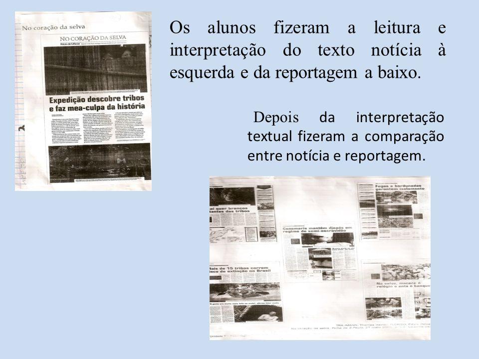 Os alunos fizeram a leitura e interpretação do texto notícia à esquerda e da reportagem a baixo. Depois da interpretação textual fizeram a comparação
