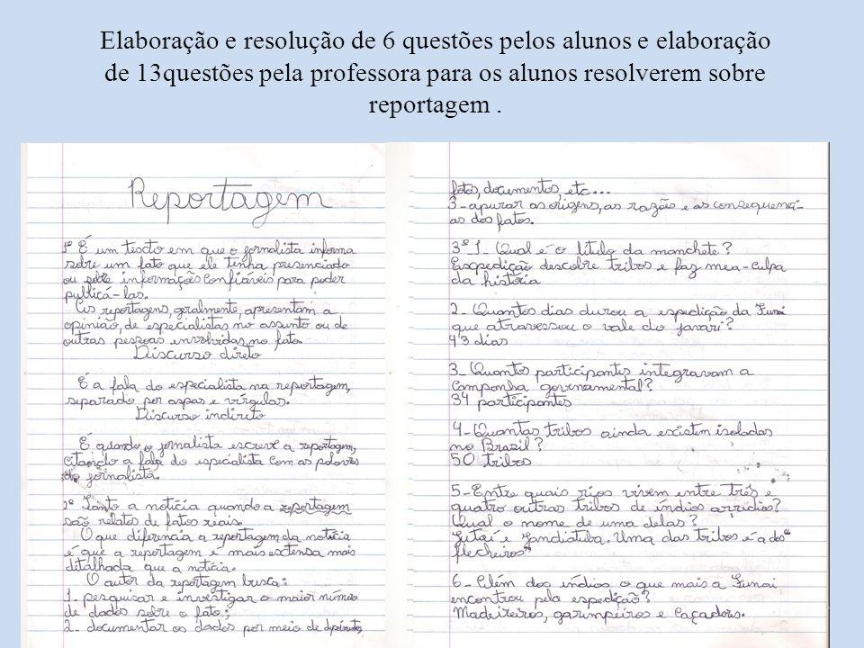 Elaboração e resolução de 6 questões pelos alunos e elaboração de 13questões pela professora para os alunos resolverem sobre reportagem.