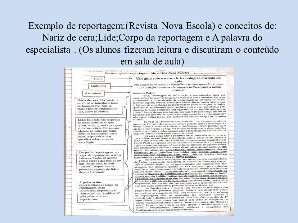 Exemplo de reportagem:(Revista Nova Escola) e conceitos de: Nariz de cera;Lide;Corpo da reportagem e A palavra do especialista. (Os alunos fizeram lei