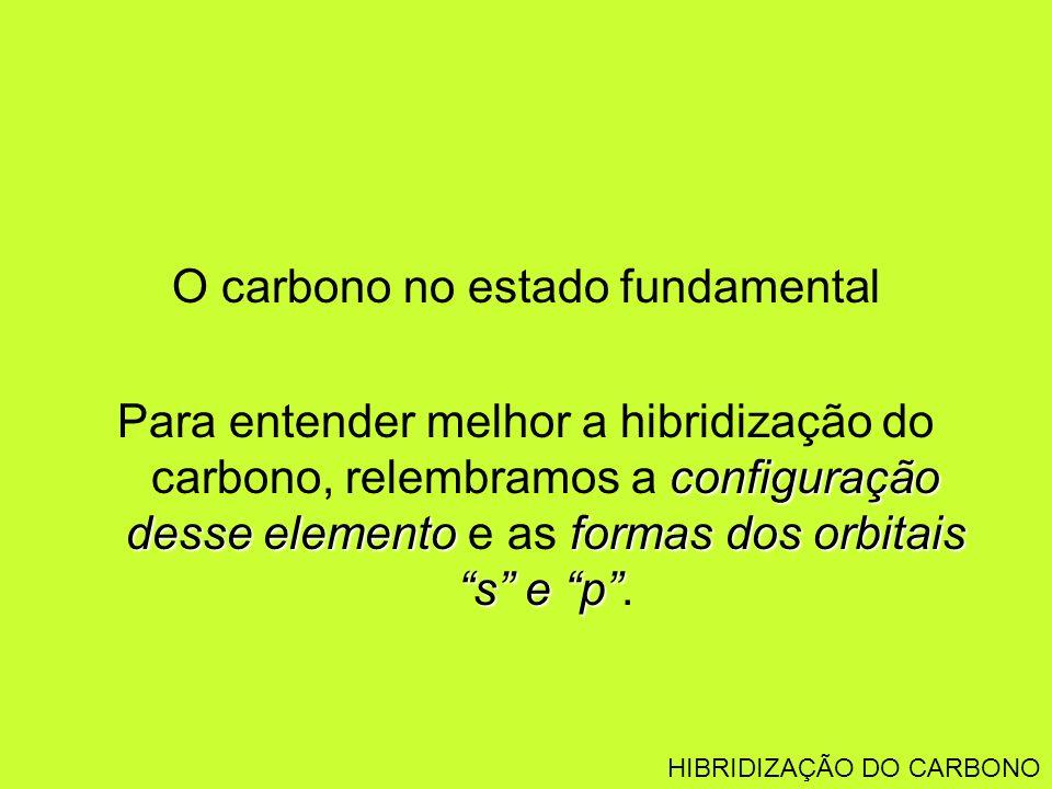 O carbono no estado fundamental configuração desse elementoformas dos orbitais s e p Para entender melhor a hibridização do carbono, relembramos a con