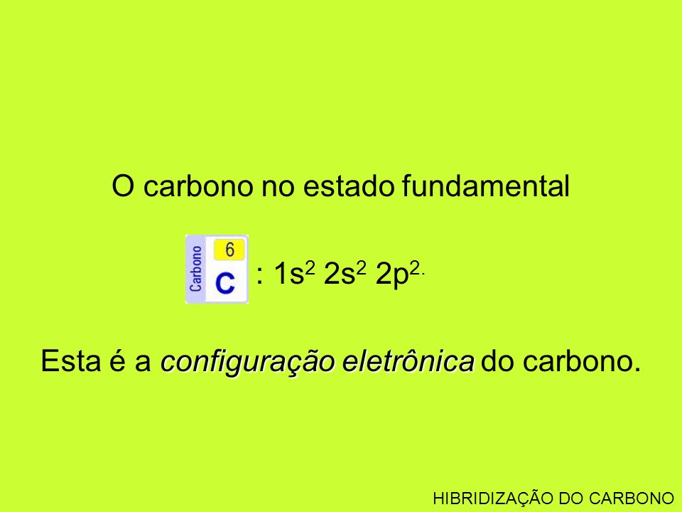 O carbono no estado fundamental : 1s 2 2s 2 2p 2. configuração eletrônica Esta é a configuração eletrônica do carbono. HIBRIDIZAÇÃO DO CARBONO